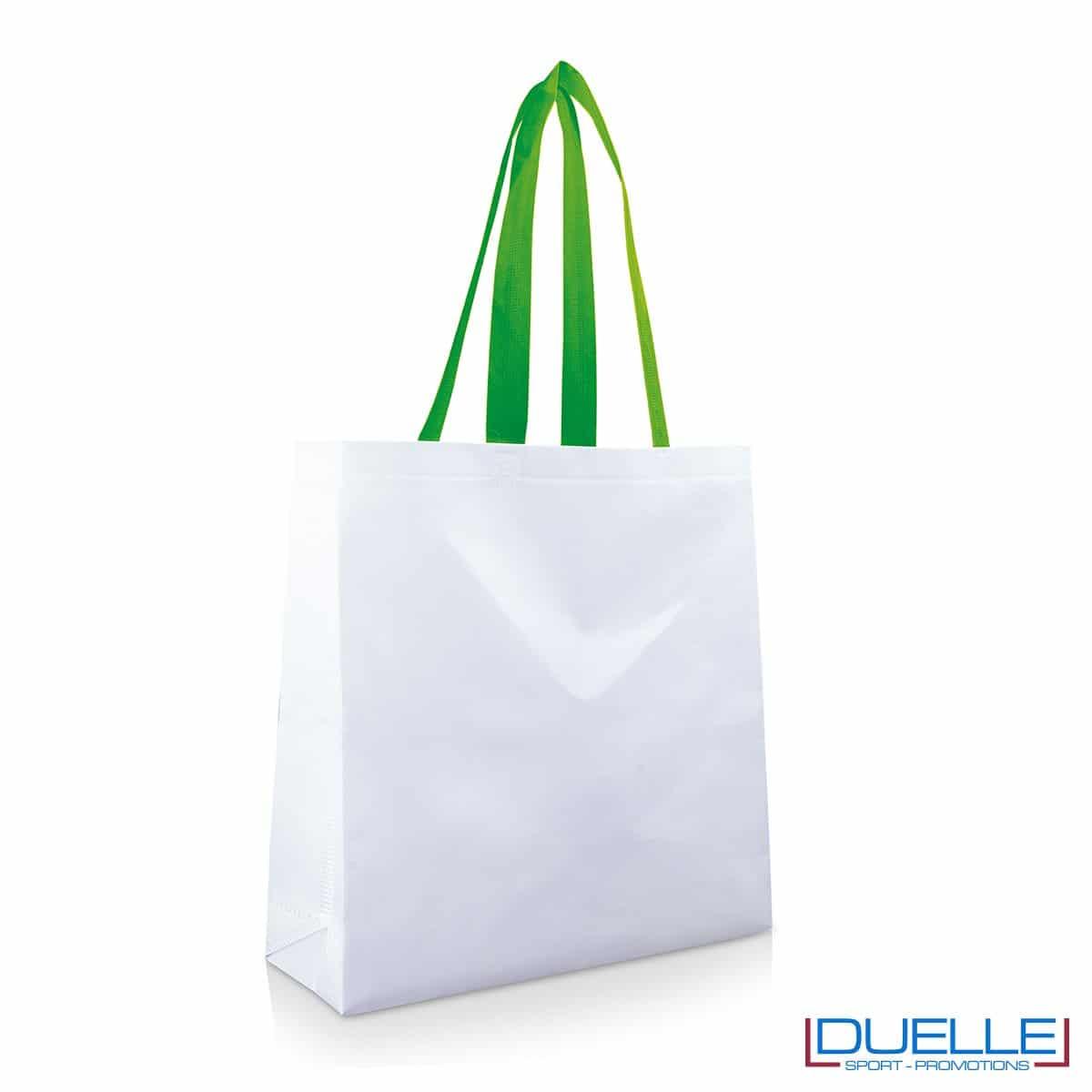 Shopper personalizzata in TNT laminato con manici verdi