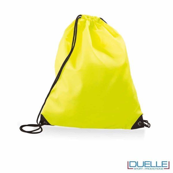 Zainetto sportivo impermeabile personalizzato in nylon giallo fluo