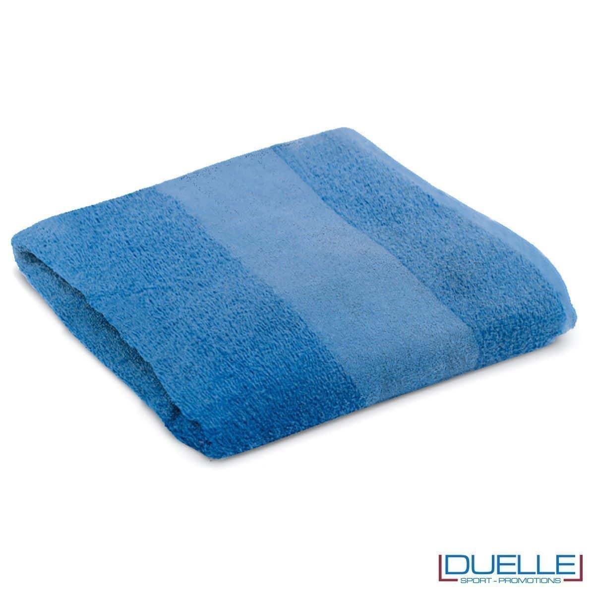 telo personalizzato mare cotone blu royal, gadget mare, gadget estate, gadget promozionali 100% cotone
