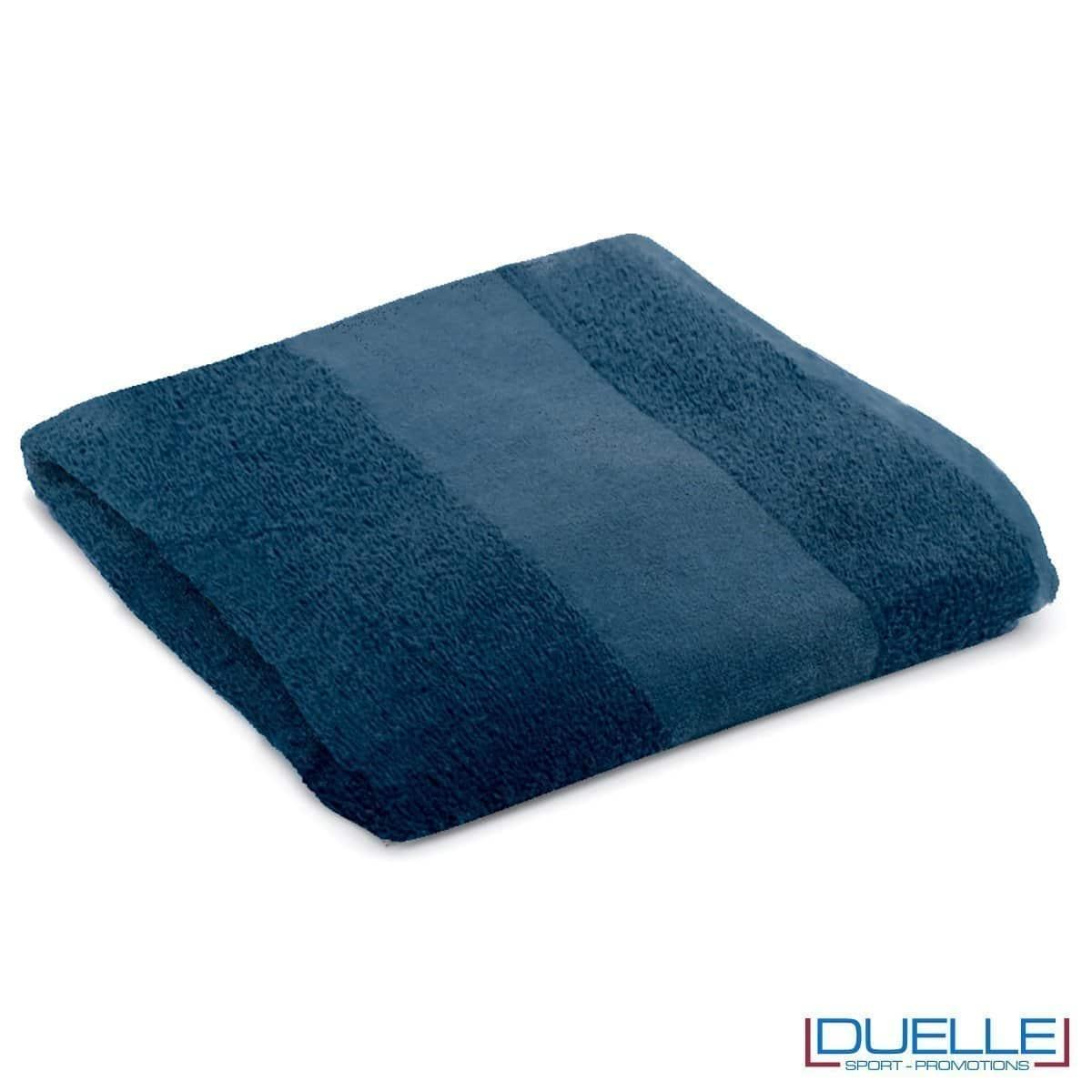 telo personalizzato mare cotone blu navy, gadget mare, gadget estate, gadget promozionali 100% cotone
