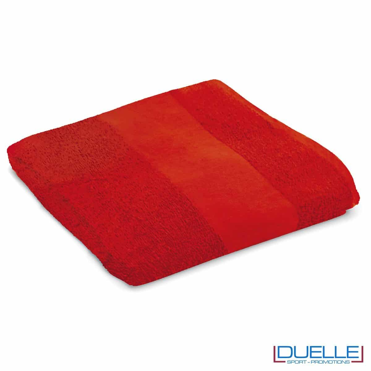 telo personalizzato mare cotone rosso, gadget mare, gadget estate, gadget promozionali 100% cotone