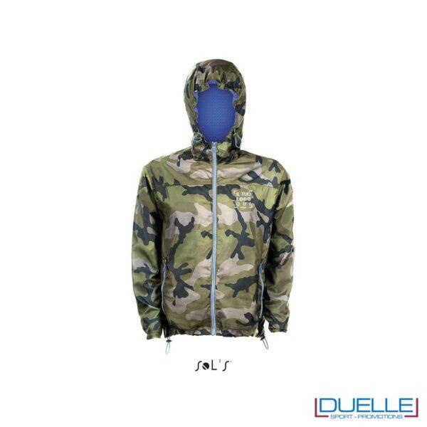 giacca antivento personalizzata colore camouflage con retina interna, kappa way personalizzati, k-way personalizzati