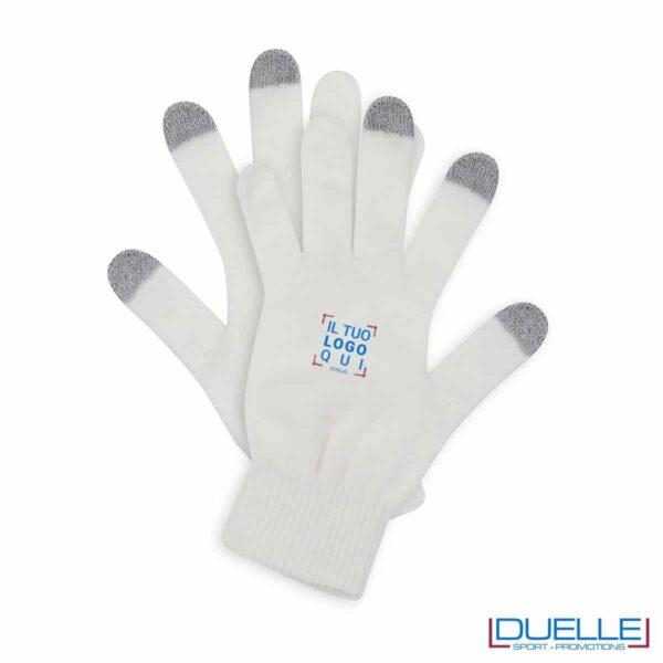 guanti touch screen personalizzati in colore bianco
