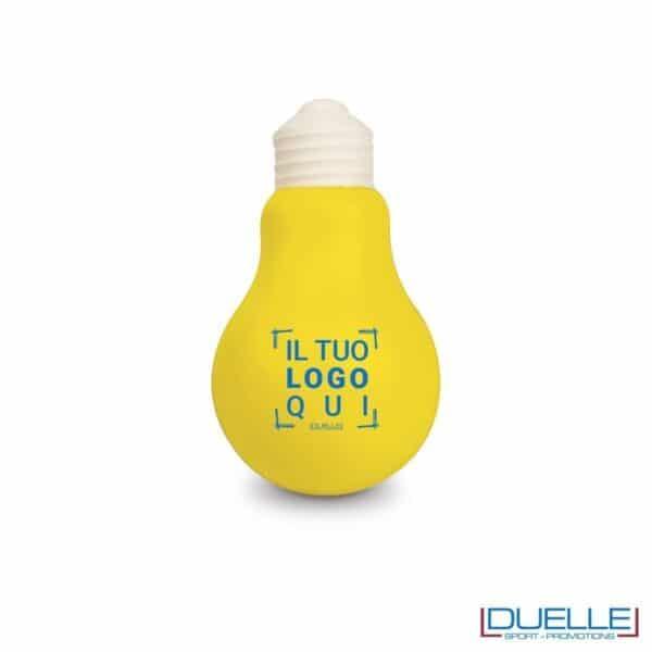 antistress personalizzato a forma di lampadina, gadget aziendali personalizzati