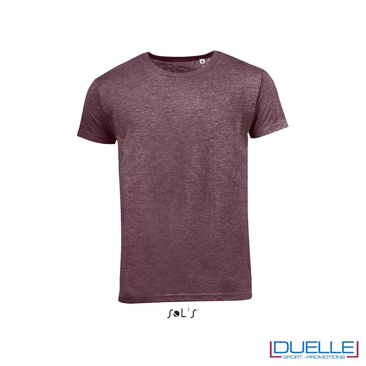 t-shirt personalizzata con tessuto melange in colore bordeaux, abbigliamento promozionale personalizzato
