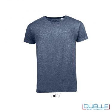 t-shirt personalizzata con tessuto melange in colore blu navy, abbigliamento promozionale personalizzato