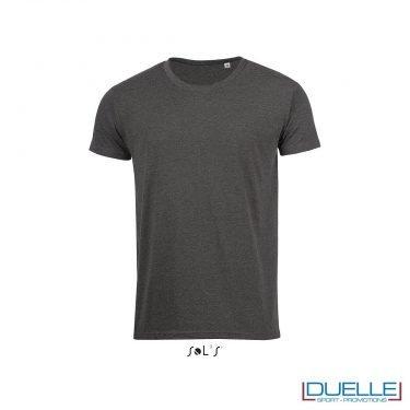 t-shirt personalizzata con tessuto melange in colore antracite, abbigliamento promozionale personalizzato