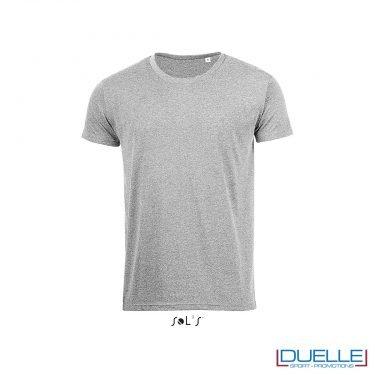t-shirt personalizzata con tessuto melange in colore grigio, abbigliamento promozionale personalizzato