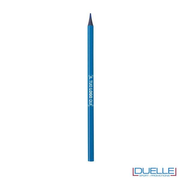 matita personalizzabile blu con mina evidenziatore, gadget legno, gadget ufficio