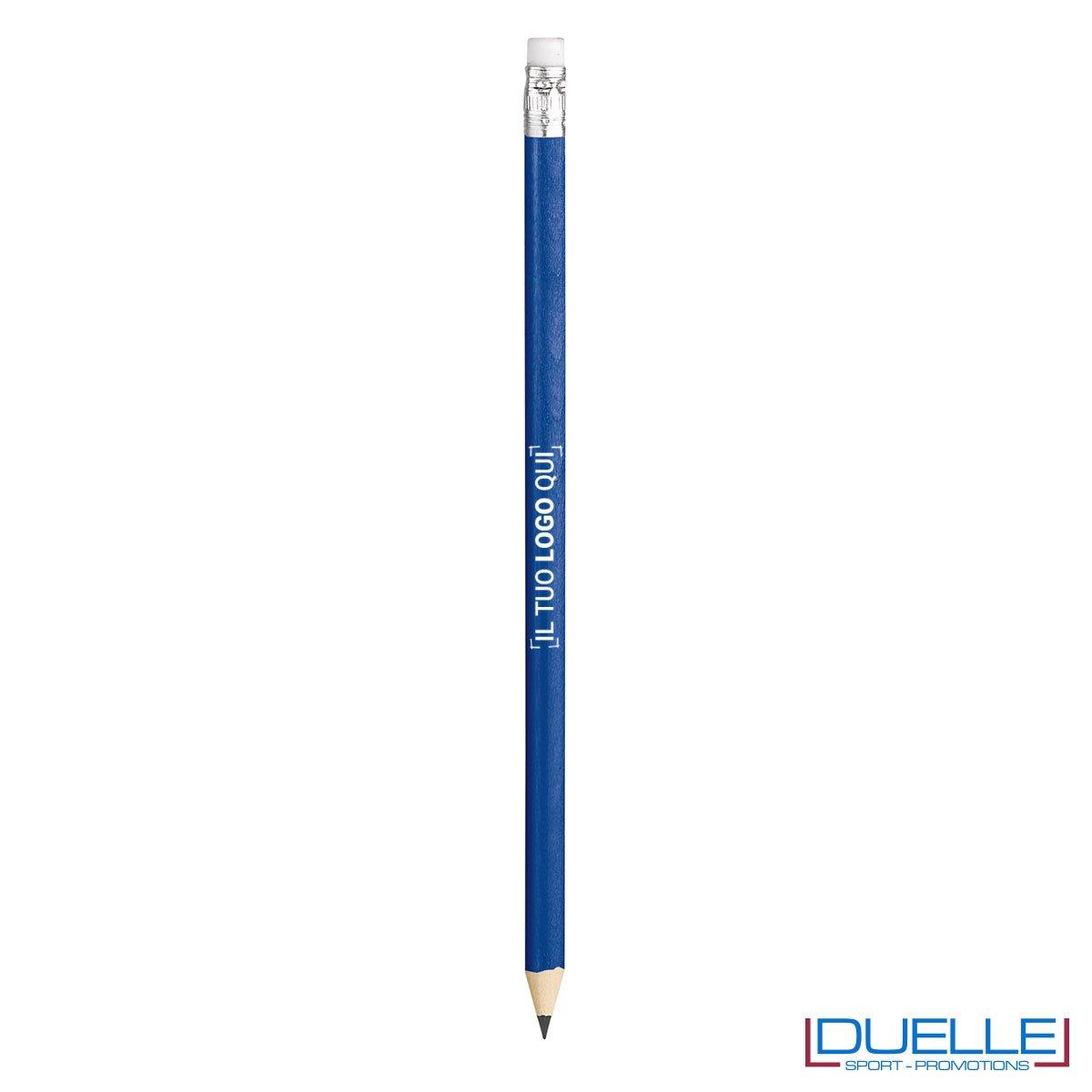 matita personalizzabile legno 100% naturale blu con gomma incorporata, gadget da scrivania