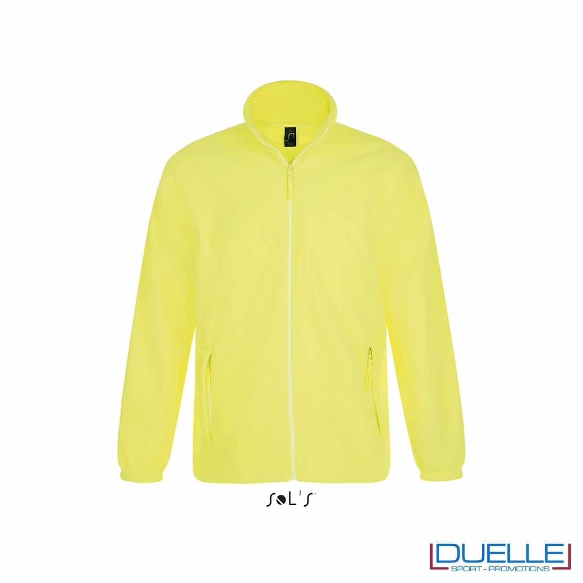 Felpa personalizzata pile uomo colore giallo fluo