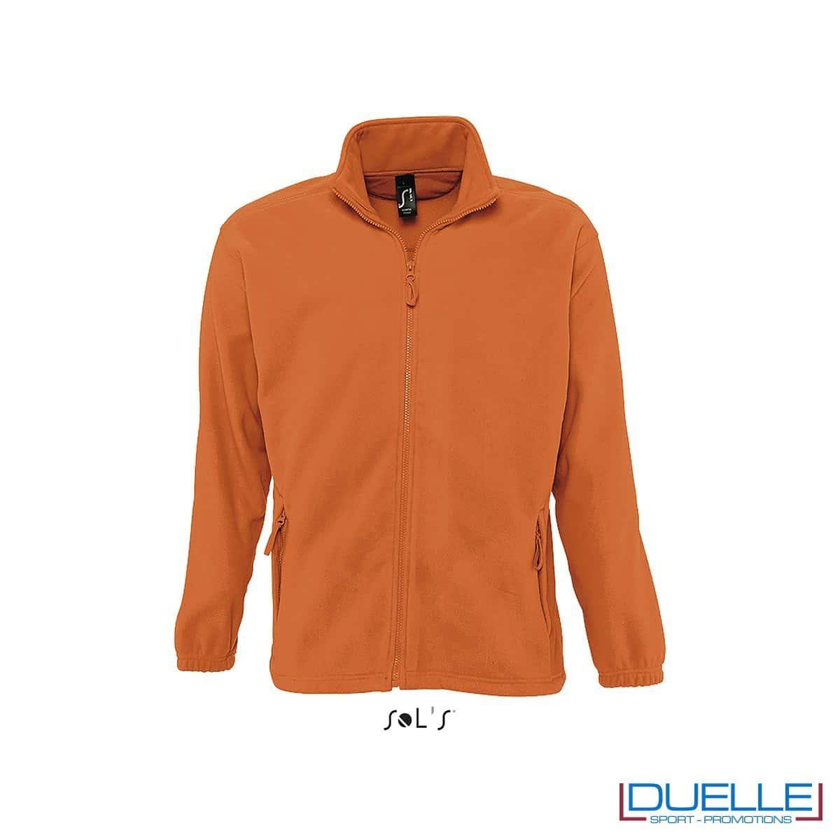 Felpa personalizzata pile uomo colore arancione