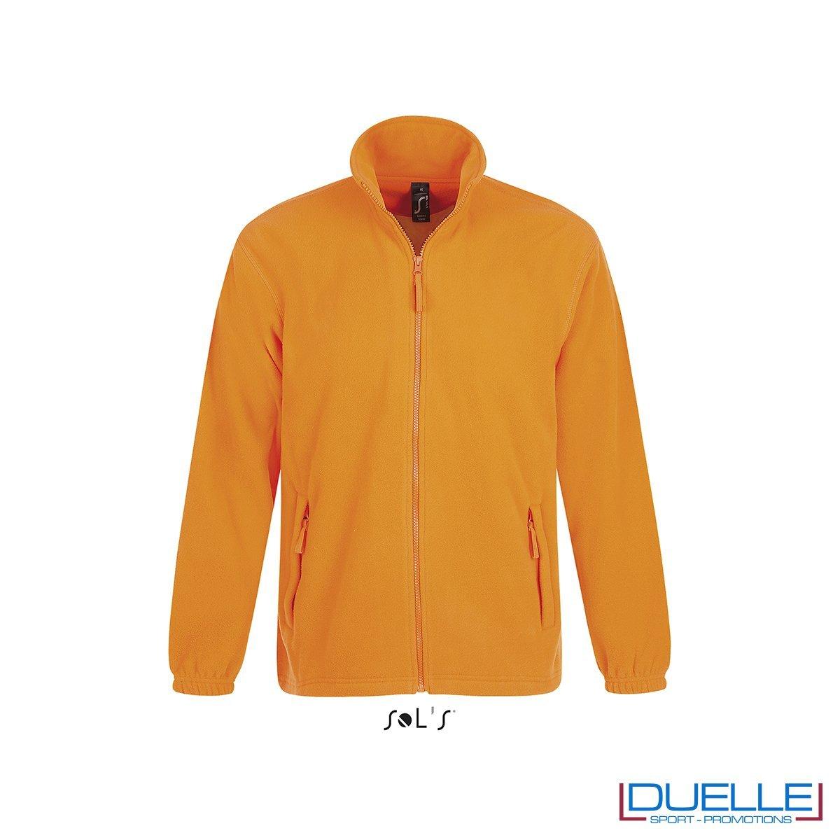 Felpa personalizzata pile uomo colore arancione fluo