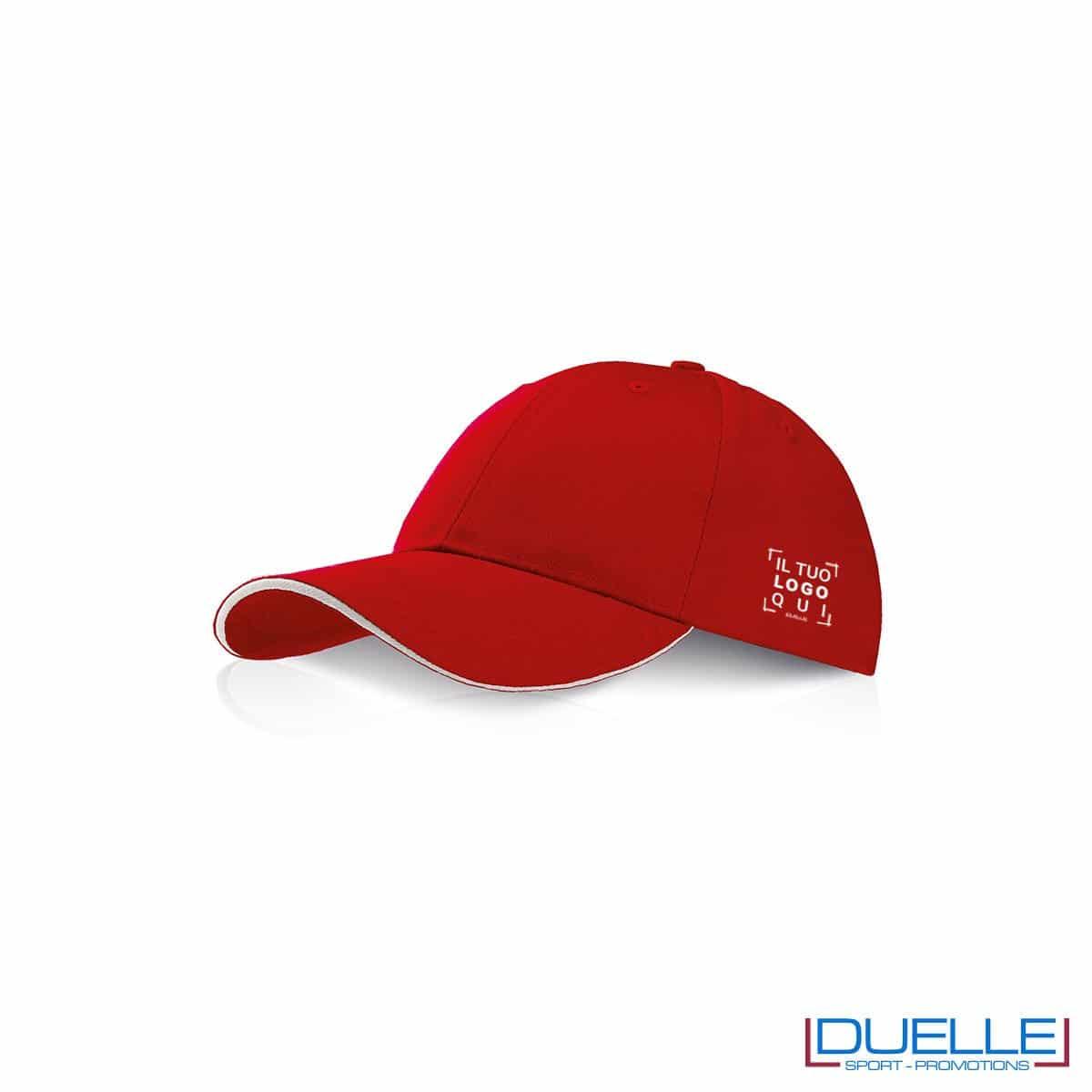 Cappellino personalizzato con visiera a sandwich rosso, cappellini promozionali rosso