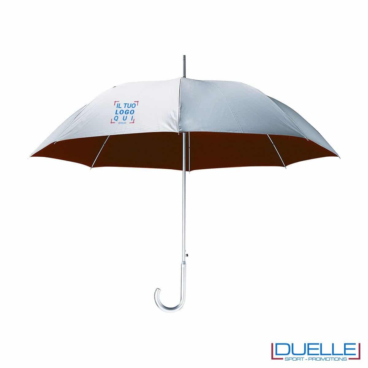 """Ombrello personalizzato in alluminio MAXI 27"""" argentato con interno a contrasto."""