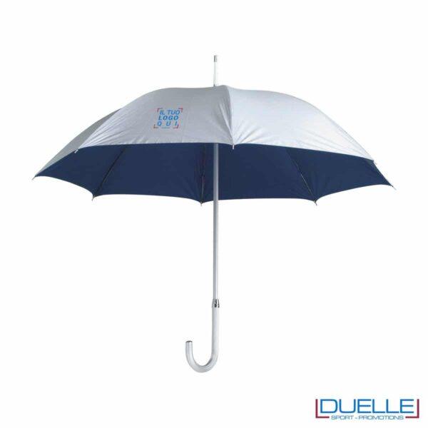 """Ombrello personalizzato in alluminio 23"""" argentato con interno a contrasto."""