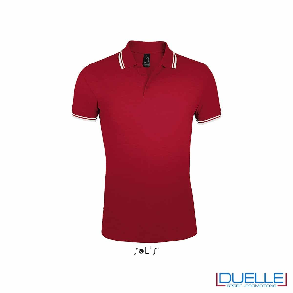 polo personalizzata rosso con profili a contrasto bianchi, polo personalizzate