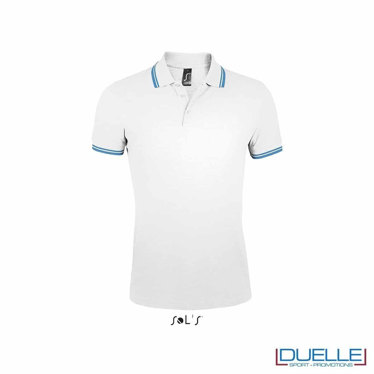 polo personalizzata bianca con profili a contrasto azzurri, polo personalizzate