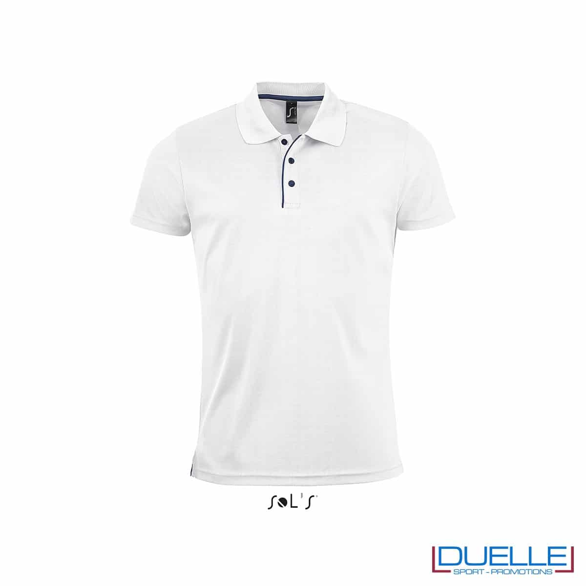 polo personalizzata sportiva in poliestere traspirante colore bianco, polo personalizzata, abbigliamento sportivo personalizzato