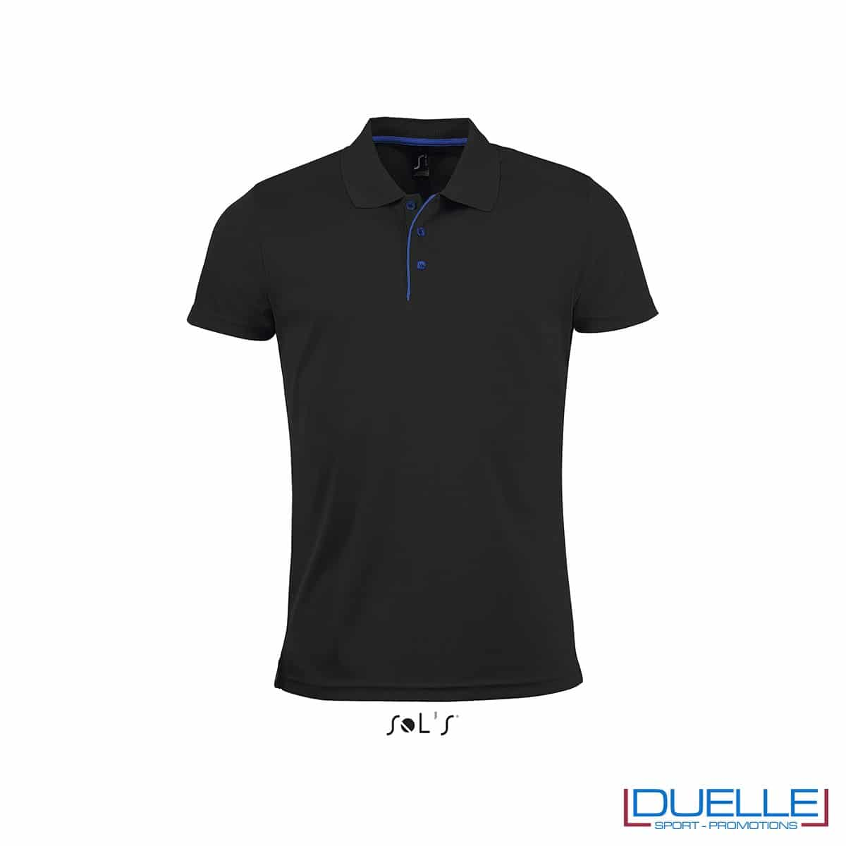 polo personalizzata sportiva in poliestere traspirante colore nero, polo personalizzata, abbigliamento sportivo personalizzato