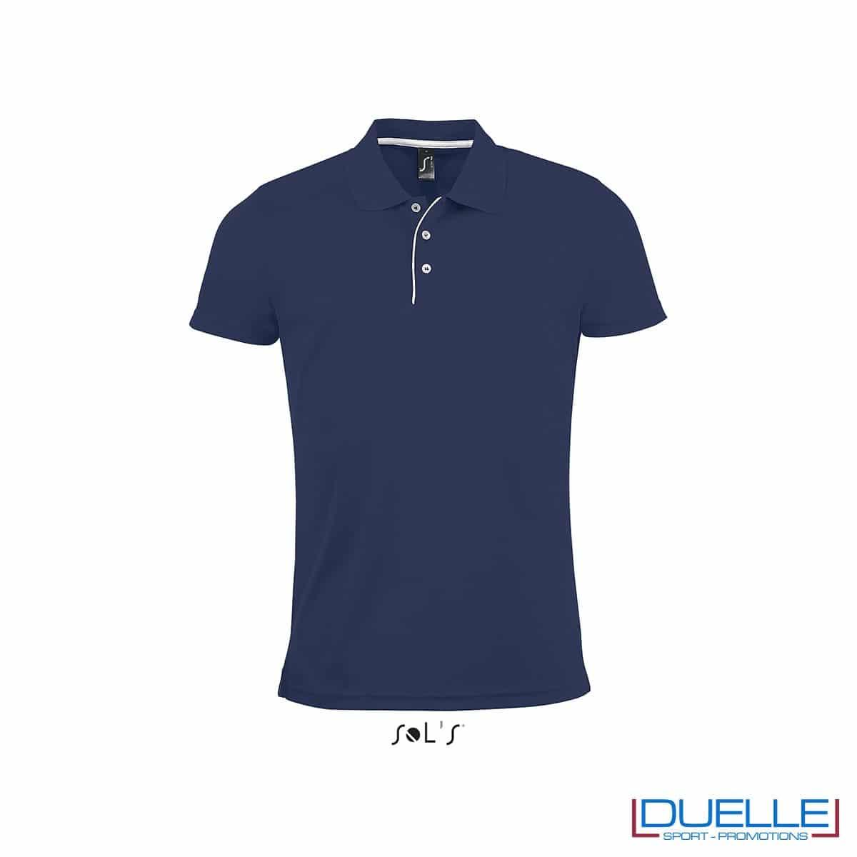 polo personalizzata sportiva in poliestere traspirante colore blu navy, polo personalizzata, abbigliamento sportivo personalizzato