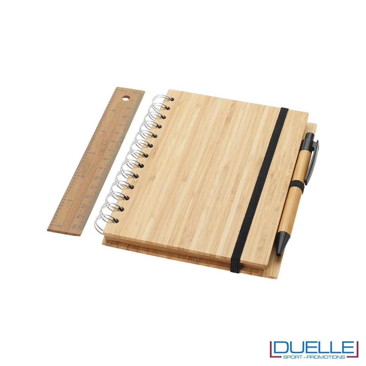 blocco per appunti personalizzato in bambu, gadget ecologici
