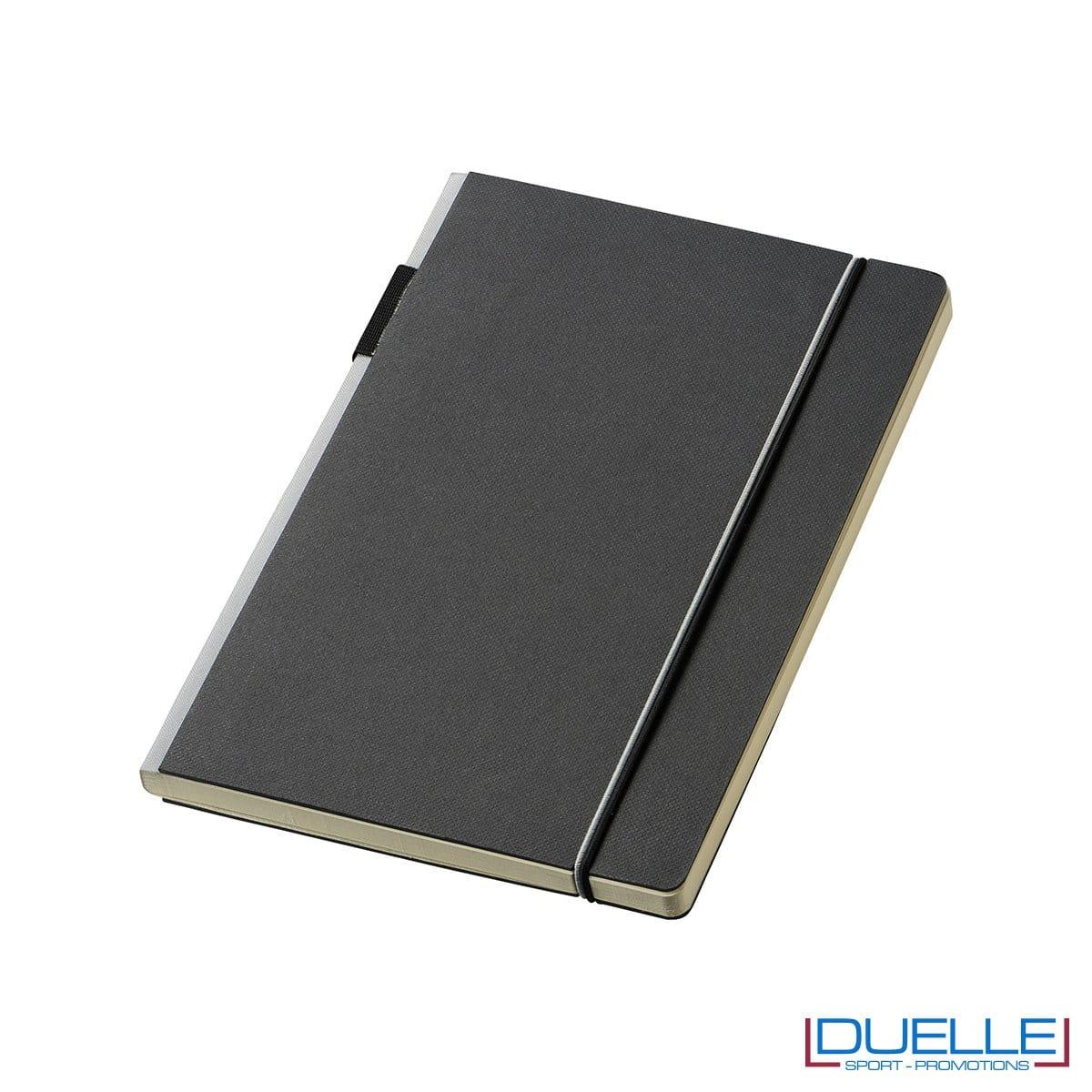 Blocco per appunti personalizzato JOURLABOOKS con elastico grigio formato A5, quaderni promozionali personalizzabili colore grigio