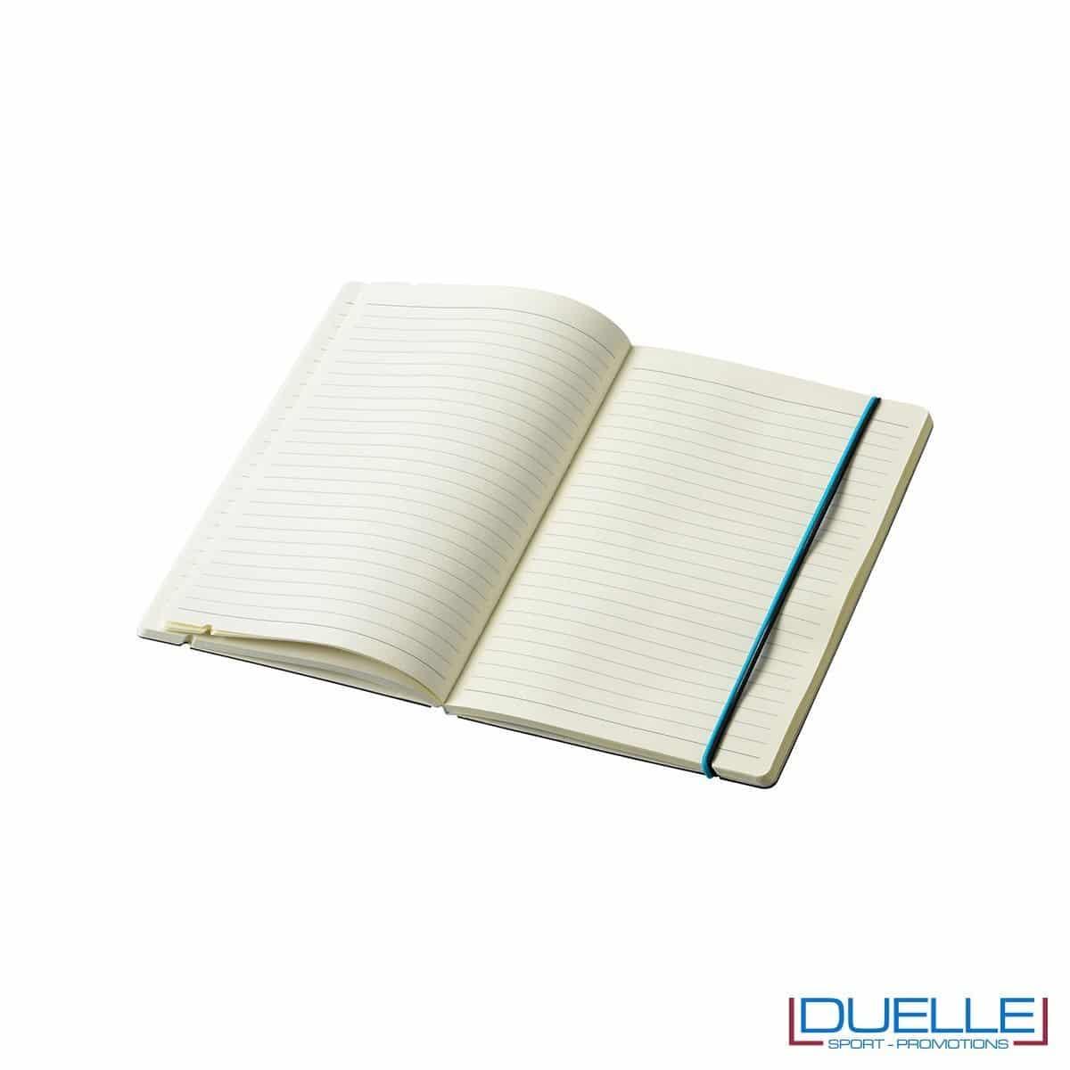 intero a righe per bocco per appunti personalizzato JOURLABOOKS con elastico formato A5, quaderni promozionali personalizzabili