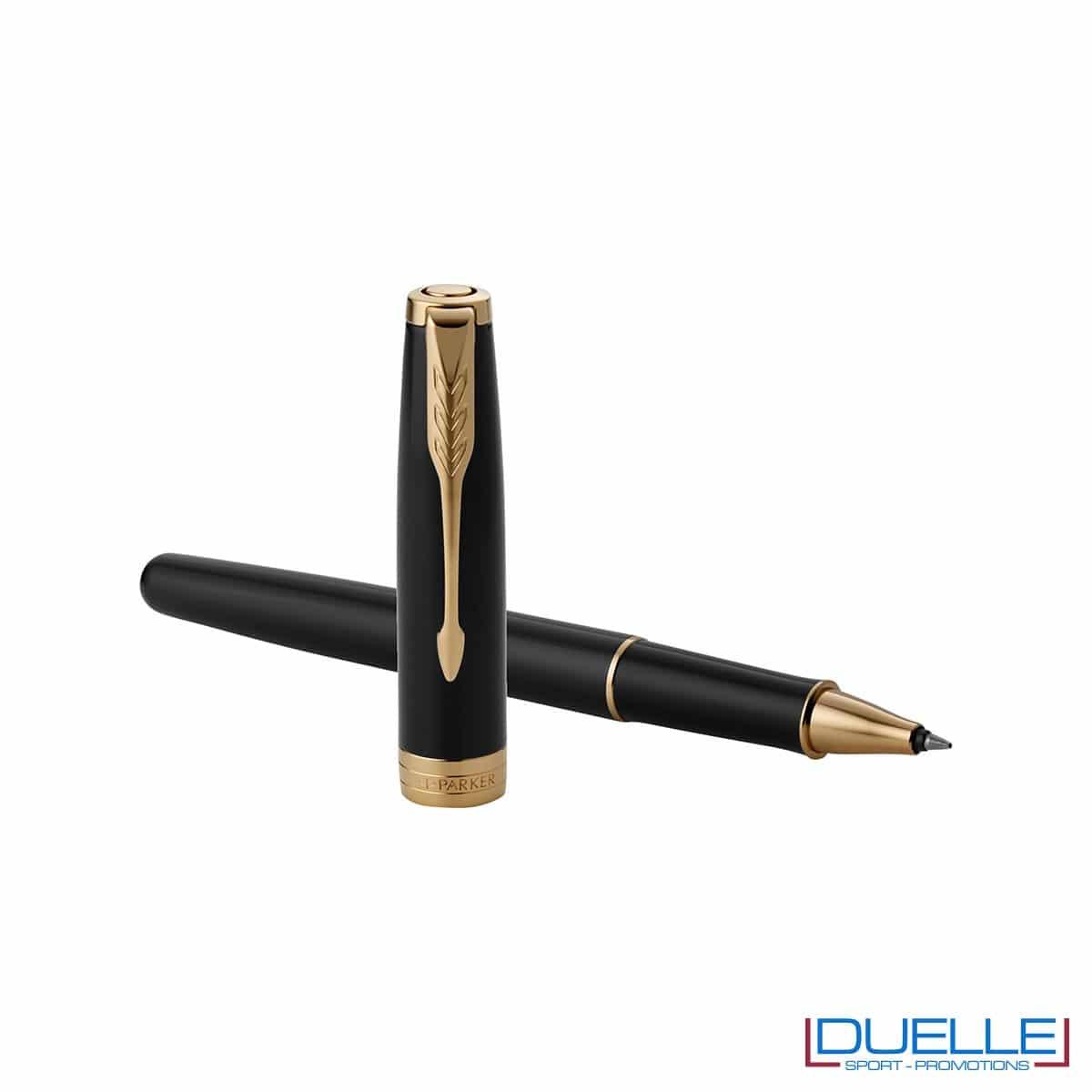 Penna Parker Sonnet Personalizzata in acciaio roller colore nero/oro