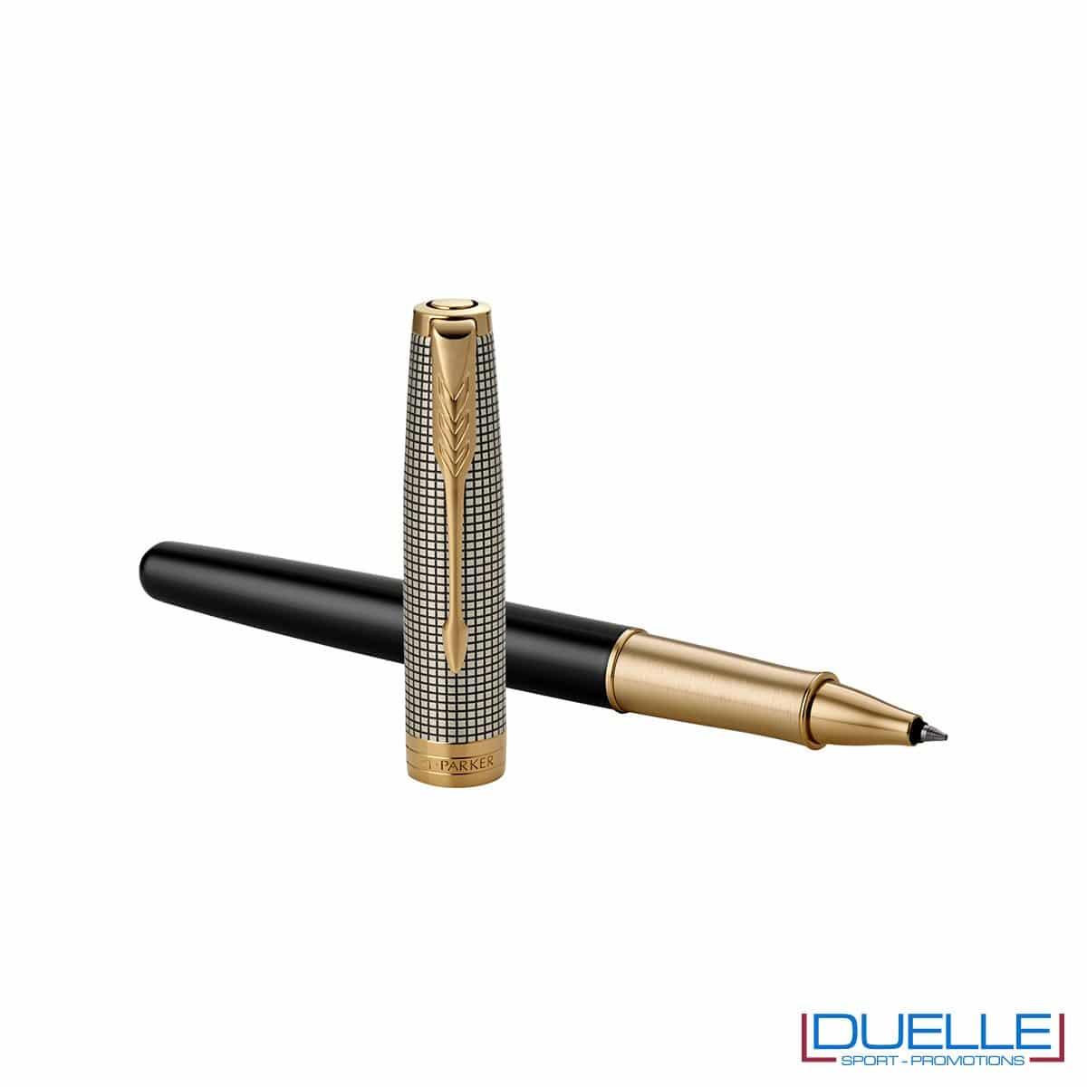 Penna Parker Sonnet Personalizzata in acciaio roller colore nero e oro