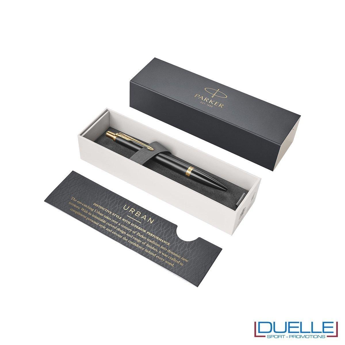 Penna Parker a sfera Urban colore nero particolari oro in confezione regalo