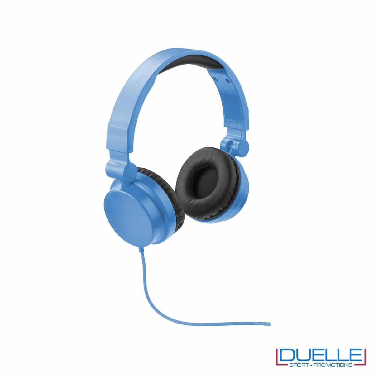 cuffie pieghevoli personalizzate promozionali in colore azzurro, cuffie promozionali personalizzate