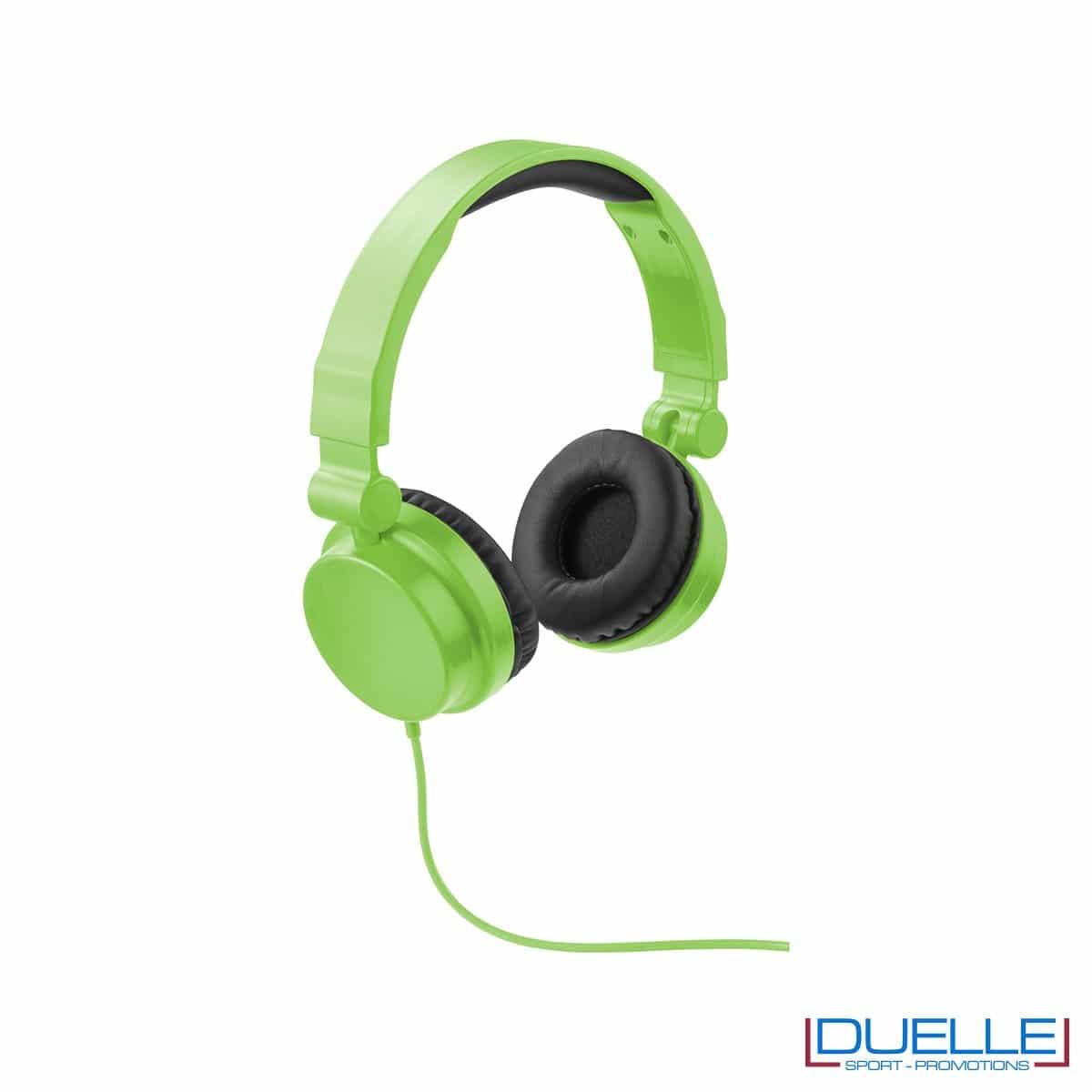 cuffie pieghevoli personalizzate promozionali in colore verde, cuffie promozionali personalizzate
