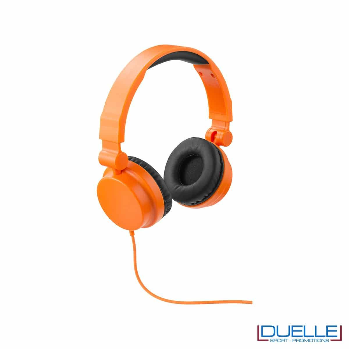 cuffie pieghevoli personalizzate promozionali in colore arancione, cuffie promozionali personalizzate