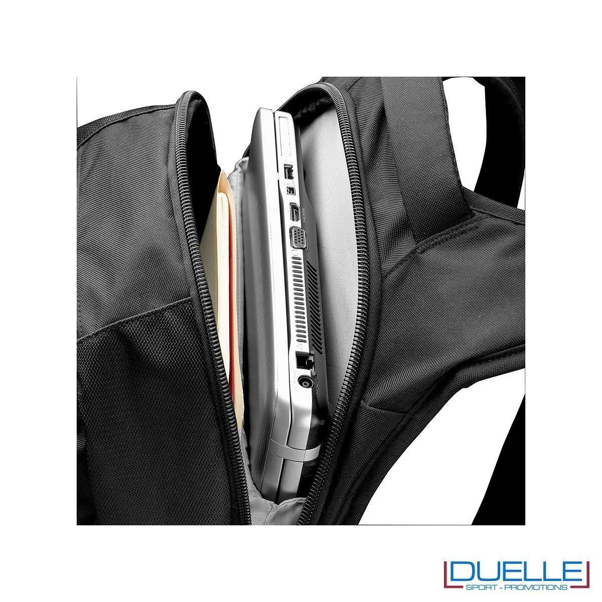 zaino porta laptop personalizzato CASE LOGIC particolare interno tasca principale, zaini promozionali CASE LOGIC personalizzato