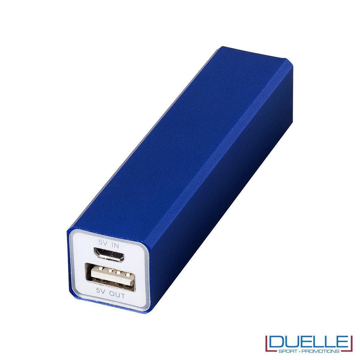 powerbank personalizzato 2200 mAh in alluminio blu, powerbank per smartphone personalizzato