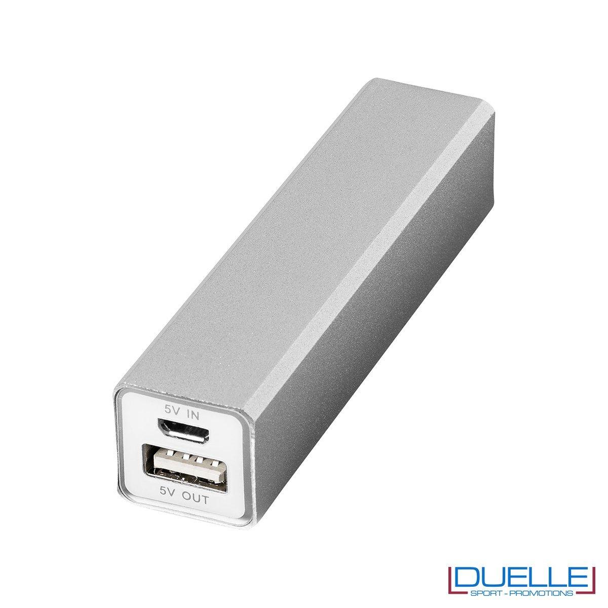 powerbank personalizzato 2200 mAh in alluminio argentato, powerbank per smartphone personalizzato