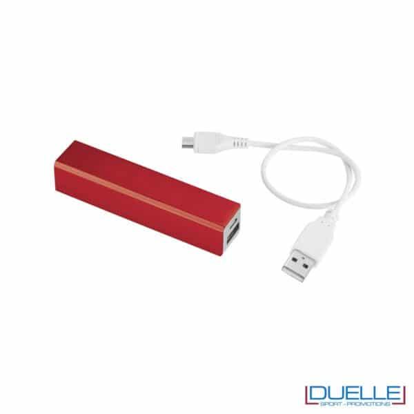 Power bank promozionale in alluminio colore rosso