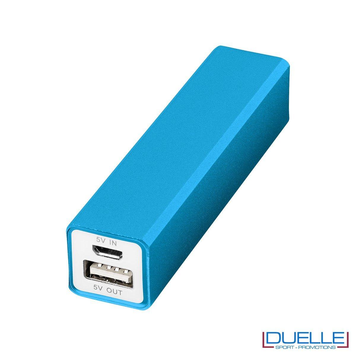 Power bank promozionale in alluminio colore azzurro