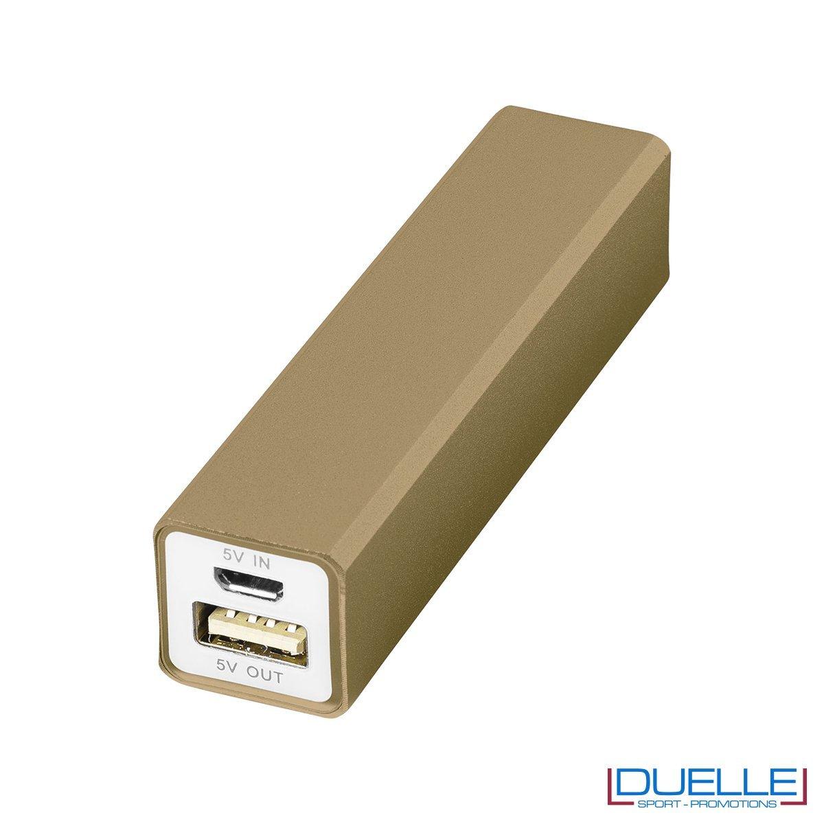 Power bank promozionale in alluminio colore oro