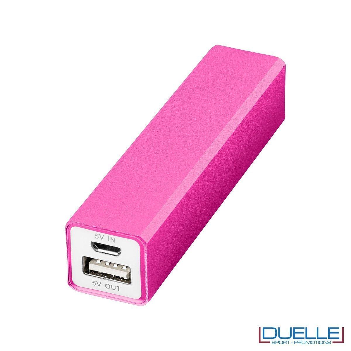 Power bank promozionale in alluminio colore rosa