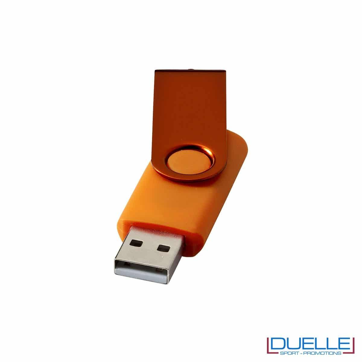 chiavetta USB personalizzata in colore arancione con scocca in alluminio anodizzato, memoria USB personalizzata