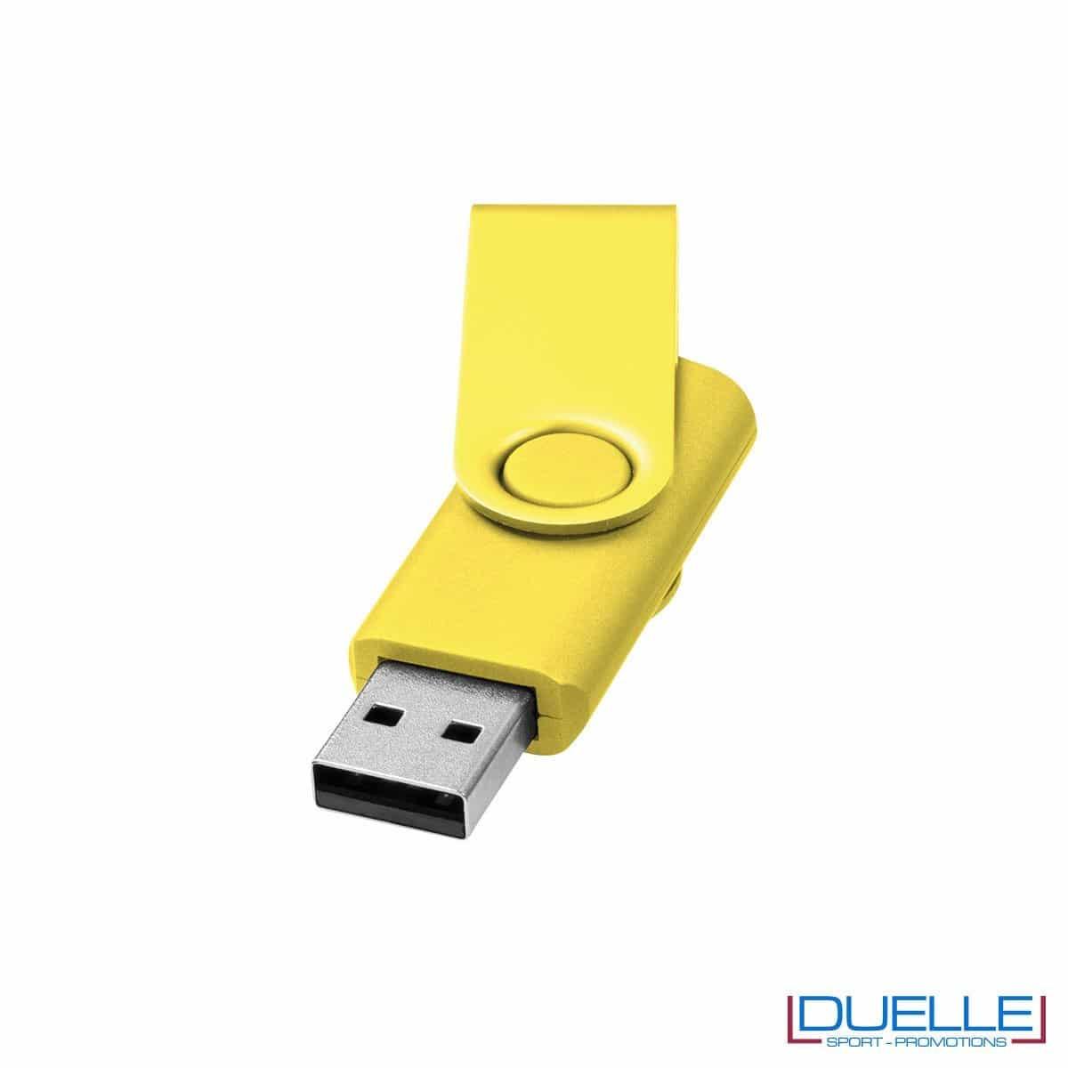chiavetta USB personalizzata in colore giallo con scocca in alluminio anodizzato, memoria USB personalizzata