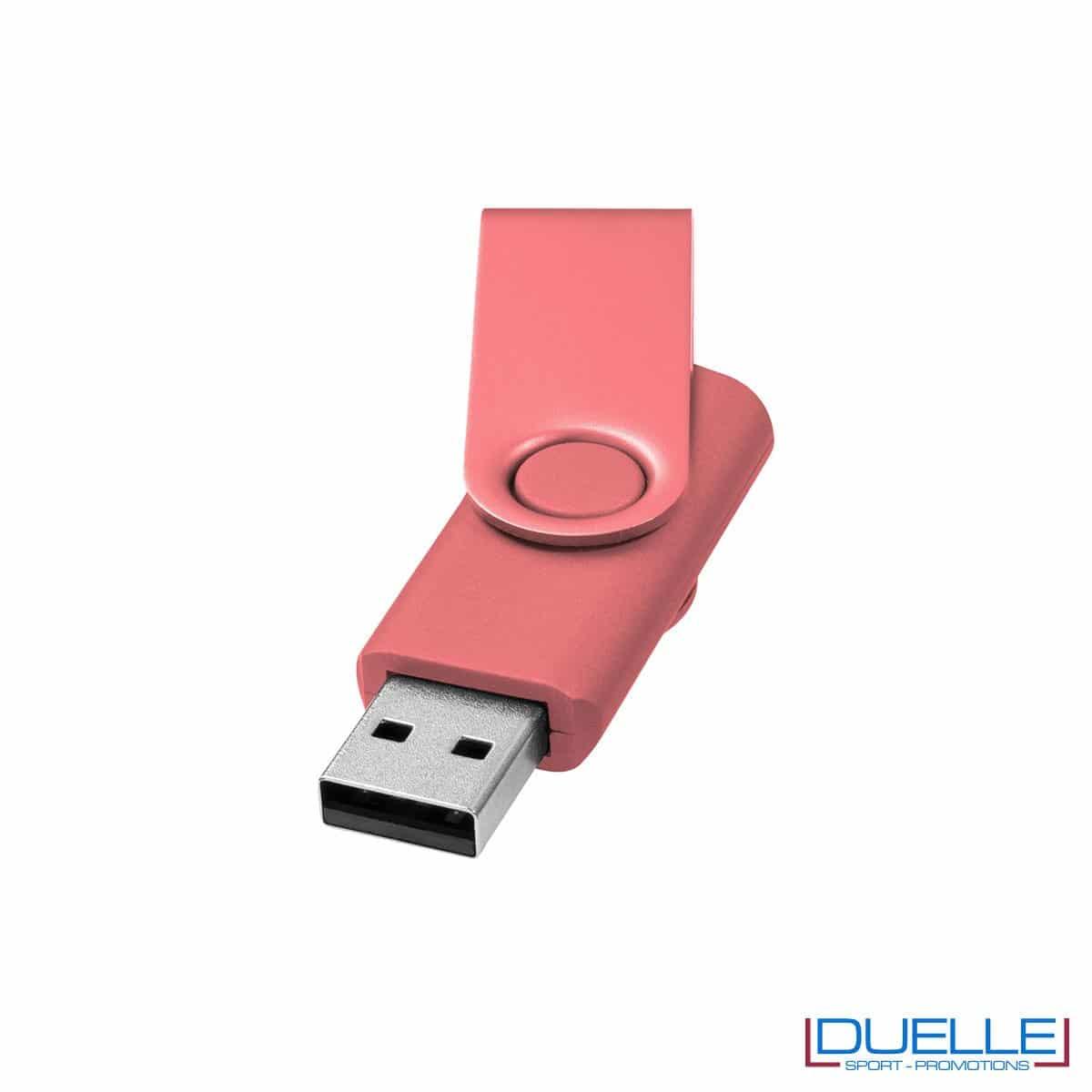 chiavetta USB personalizzata in colore rosa con scocca in alluminio anodizzato, memoria USB personalizzata