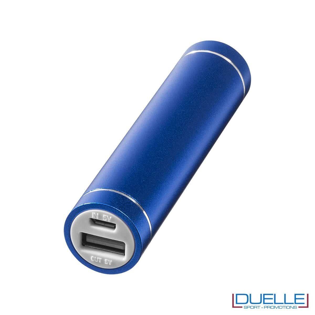 Power bank promozionale in alluminio anodizzato cilindrico colore blu