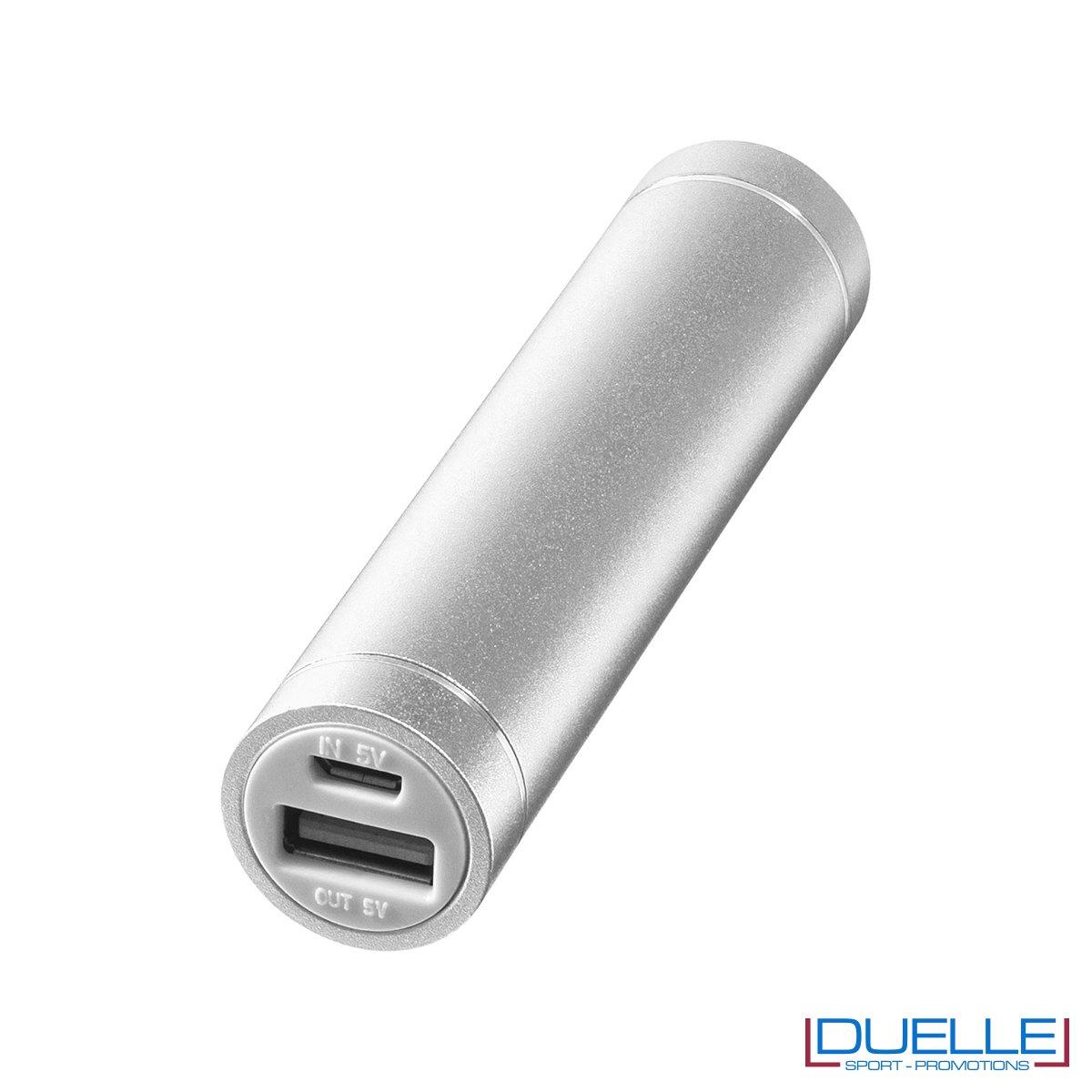 Power bank promozionale in alluminio anodizzato cilindrico colore silver