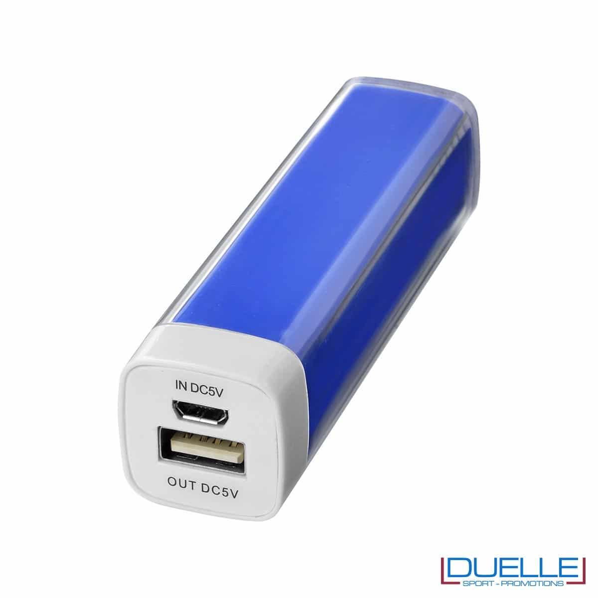 powerbank personalizzato da 2200 mAh colore blu, powerbank per smartphone personalizzato