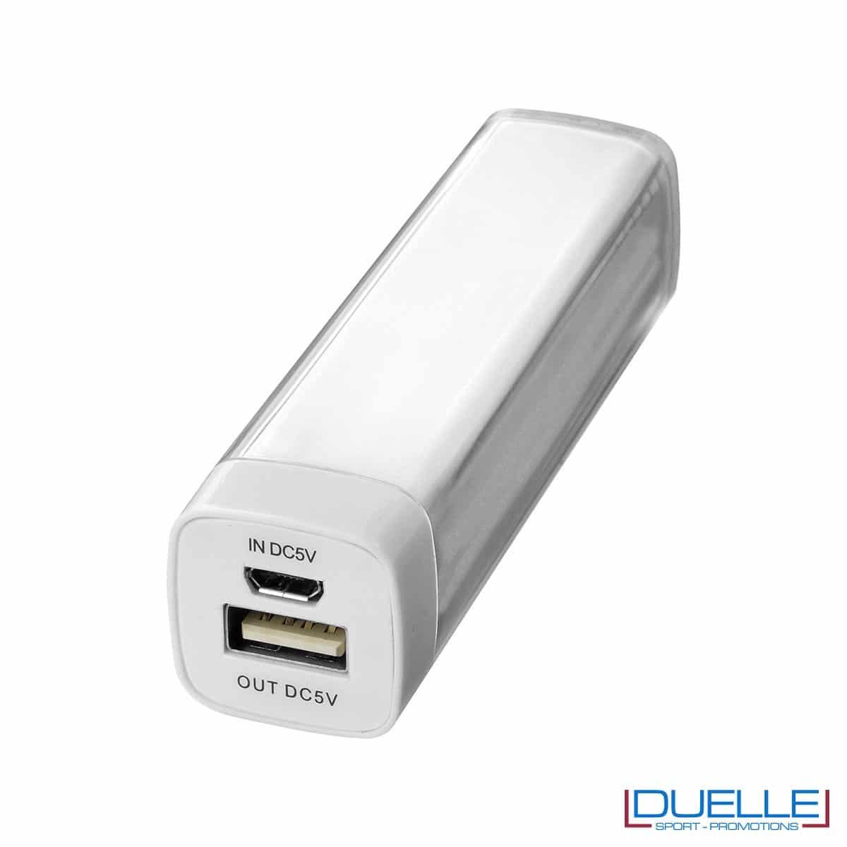 powerbank personalizzato da 2200 mAh colore bianco, powerbank per smartphone personalizzato