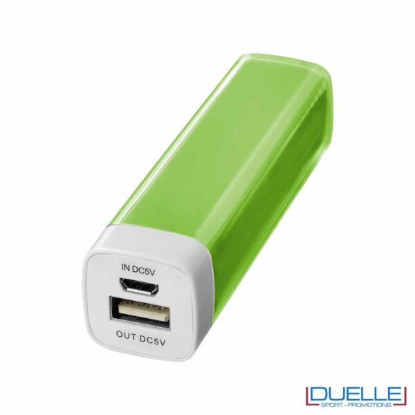 powerbank personalizzato da 2200 mAh colore verde, powerbank per smartphone personalizzato