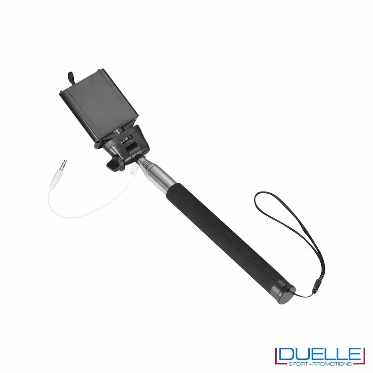 bastone per selfie personalizzato in colore nero, articoli promozionali per smartphone personalizzati in colore nero